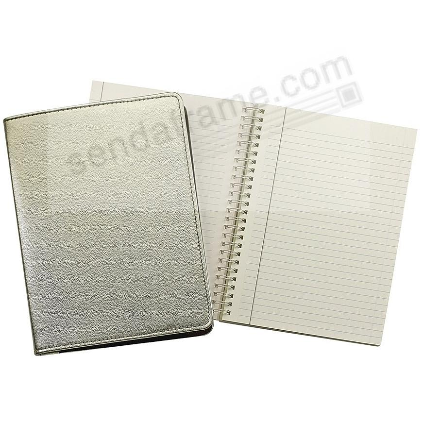 Wire-O-Notebook 9in METALLIC WHITE-GOLD Fine Leather by Graphic Image™