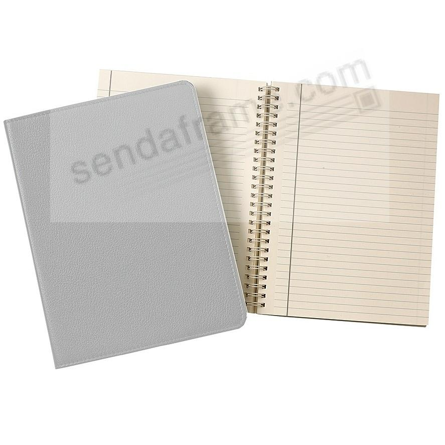 Wire-O-Notebook 9in GREY Fine Leather by Graphic Image™