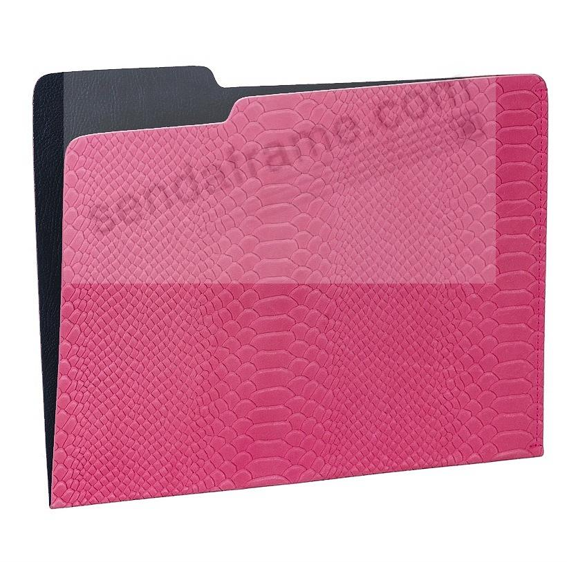 The CARLO File Folder PINK/Navy Embossed Python Leather by Graphic Image®