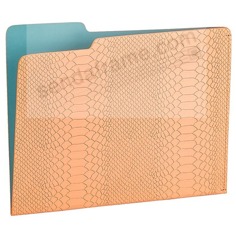The CARLO File Folder MELON/Teal Embossed Python Leather by Graphic Image®