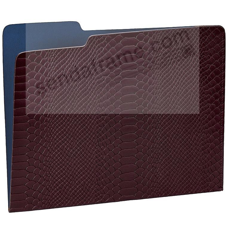 The CARLO File Folder BURGUNDY/Navy Embossed Python Leather by Graphic Image®