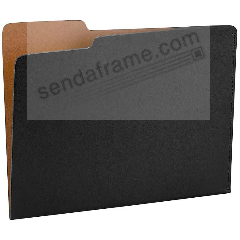 The CARLO File Folder BLACK/Tan Leather by Graphic Image®
