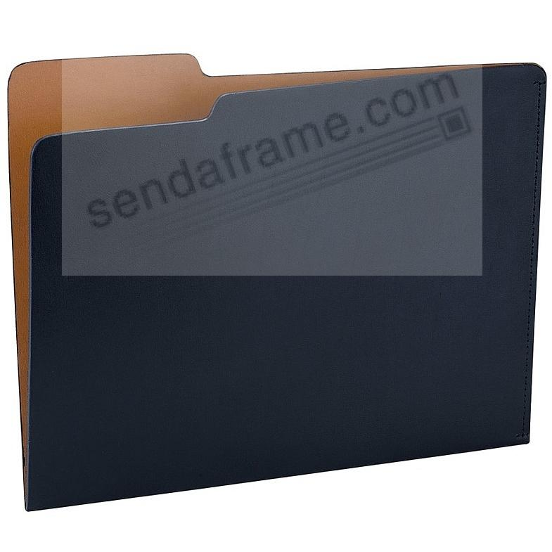 The CARLO File Folder NAVY/Tan Eco-Leather by Graphic Image®