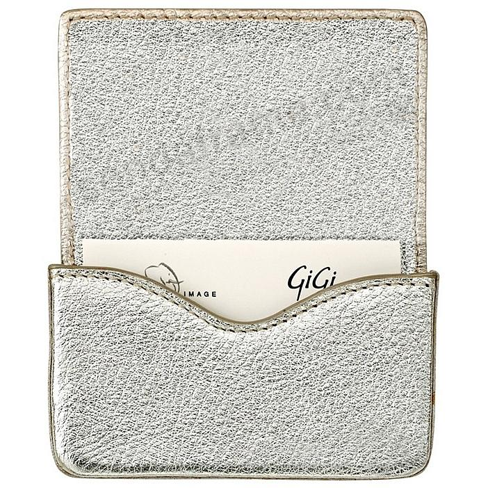 CARD CASE (HARD) in METALLIC WHITE-GOLD Goatskin Leather by Graphic Image®
