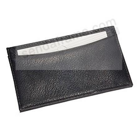 Slim Design Card Case in Black Traditional Leather by Graphic Image®