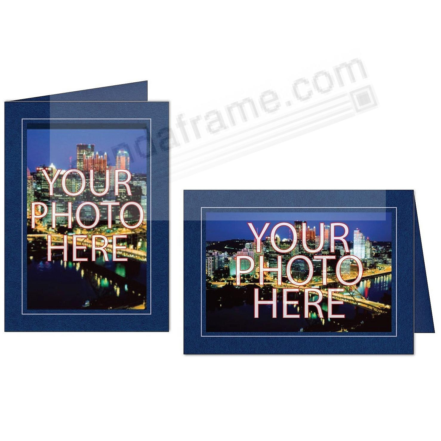 NAVY-BLUE w/Silver Trim Border Photo Insert Card (sold in 10s)