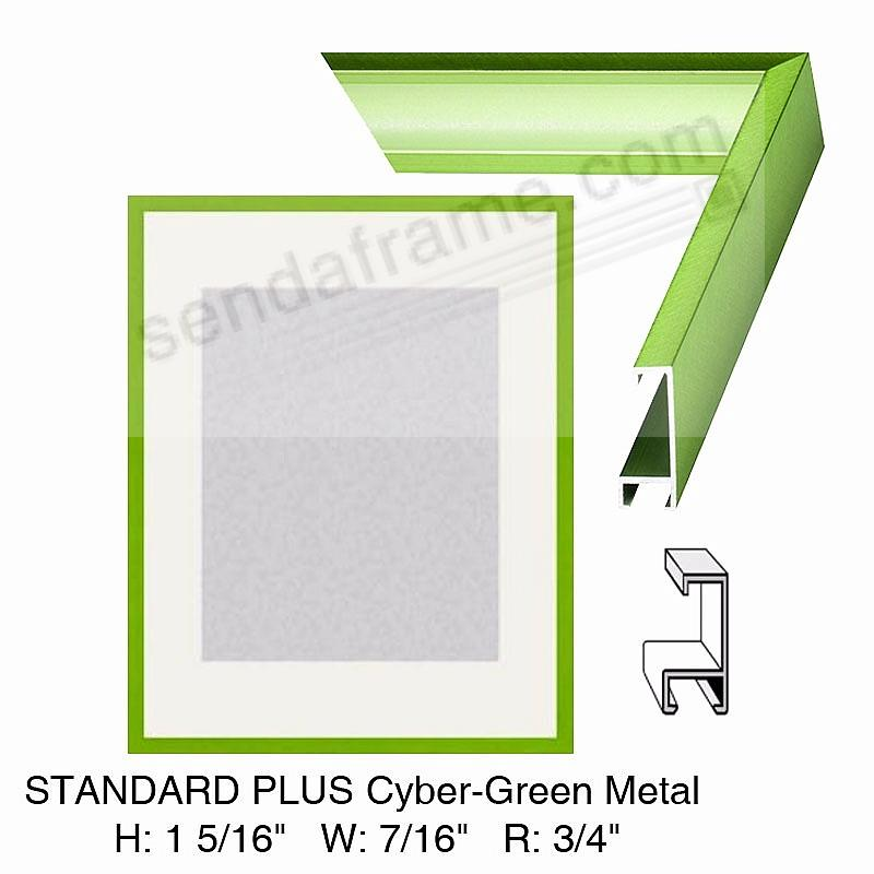 Custom-Cut™ STANDARD PLUS Cyber-Green Metal frame H:1-5/16 W:7/16 R:3/4