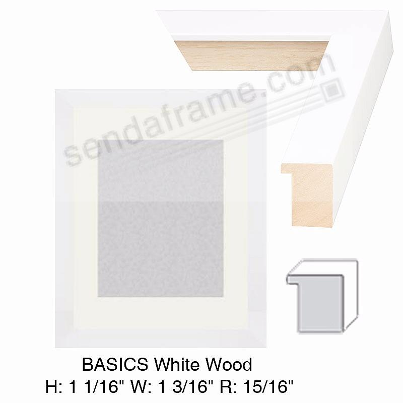 Custom-Cut BASICS™ White Wood H:1 1/16 W:1 3/16 R:15/16