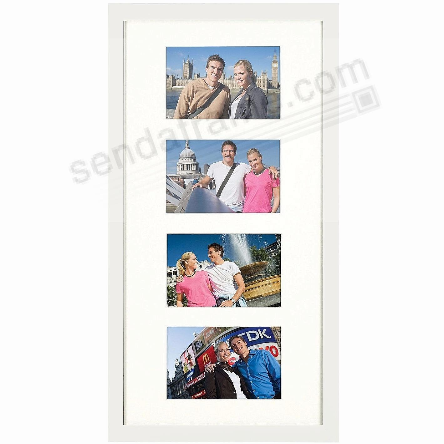 Matte-White TRIBECA Archival Matted Wood frame for 10x20/(4) - 4x6 by ARTCARE®