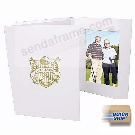 GOLF CLASSIC gold-foil design<br>on white cardboard photo folder