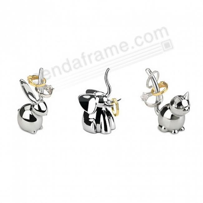 The ZOOLA 3-PACK ELEPHANT-CAT-BUNNY Chrome RING HOLDERS by Umbra®