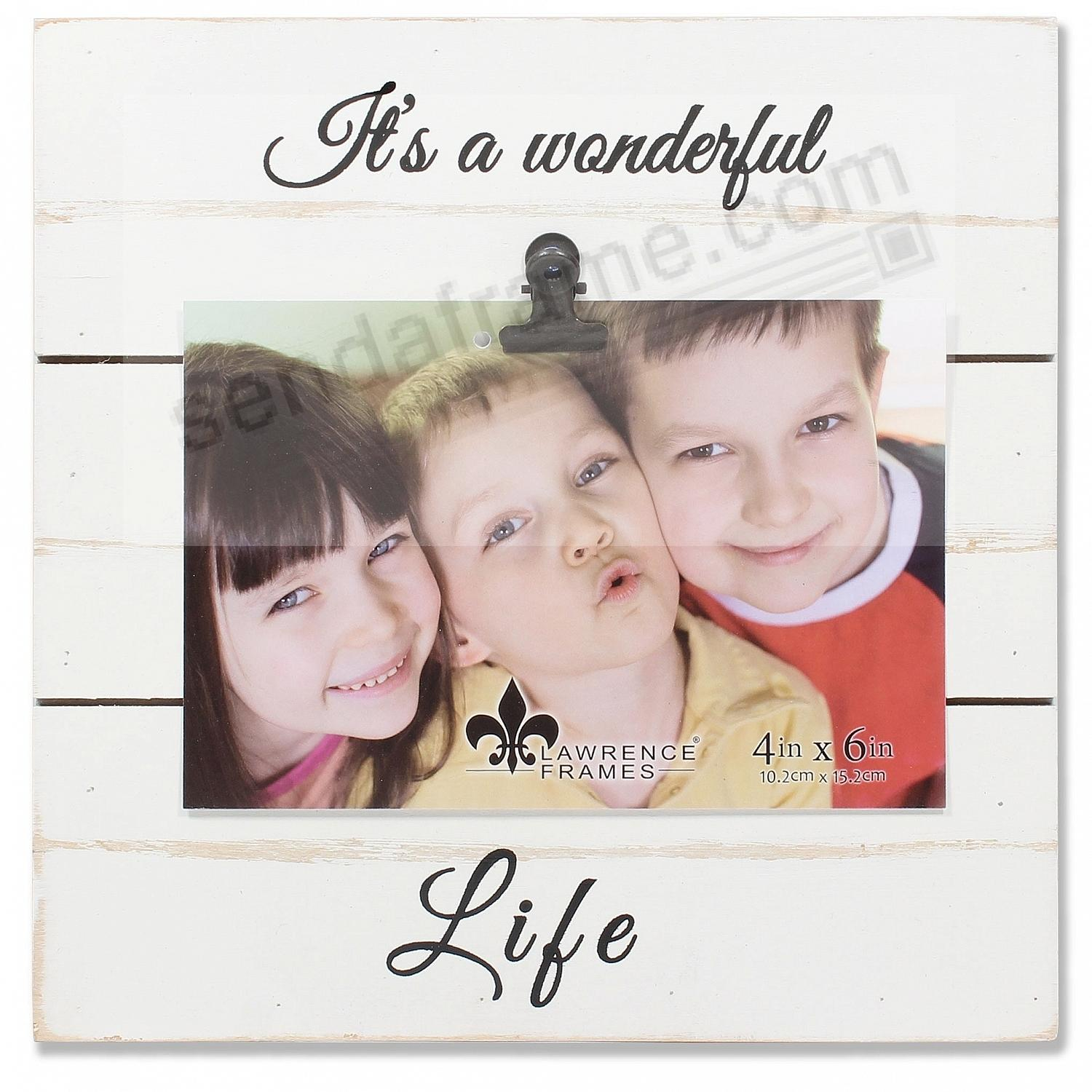 White Weathered Clip Frame IT'S A WONDERFUL LIFE