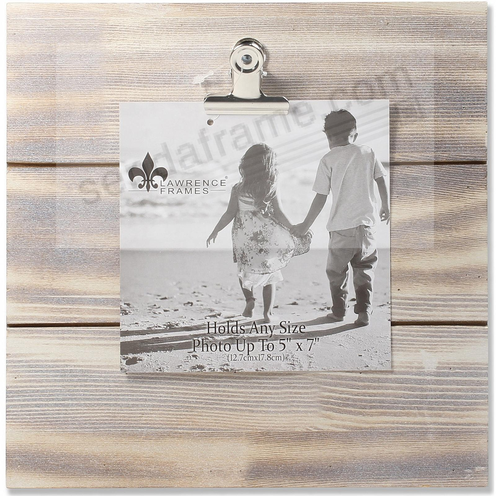 9x9 Weathered White-Wash Woodlands Clip-Board Frame - Holds Up to 5x7 Photo by Lawrence®