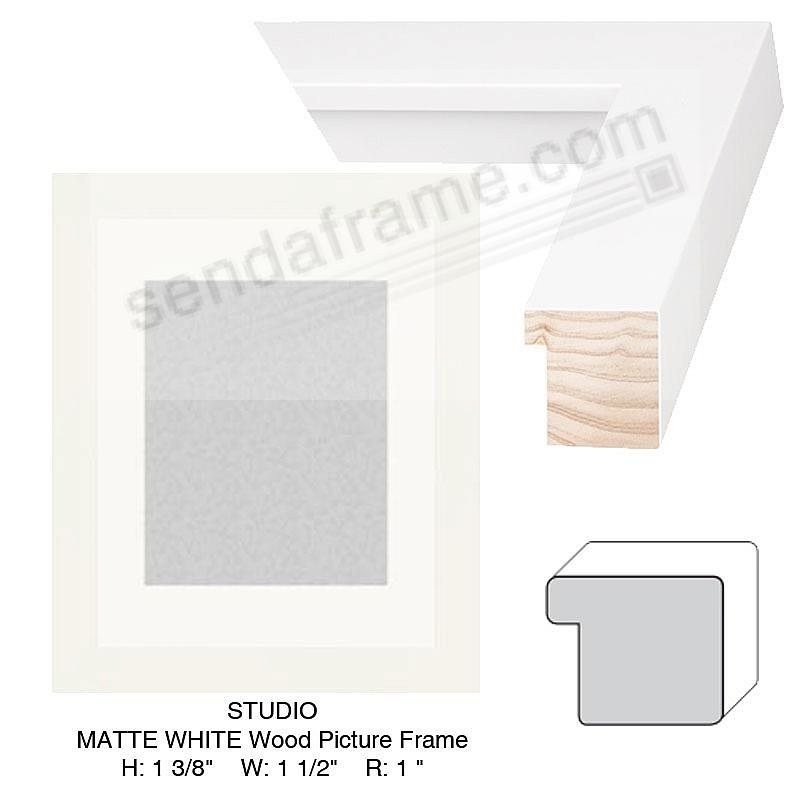 Custom-Cut™ STUDIO MATTE WHITE Wood Frame H:1-3/8 W:1-1/2 R: 1