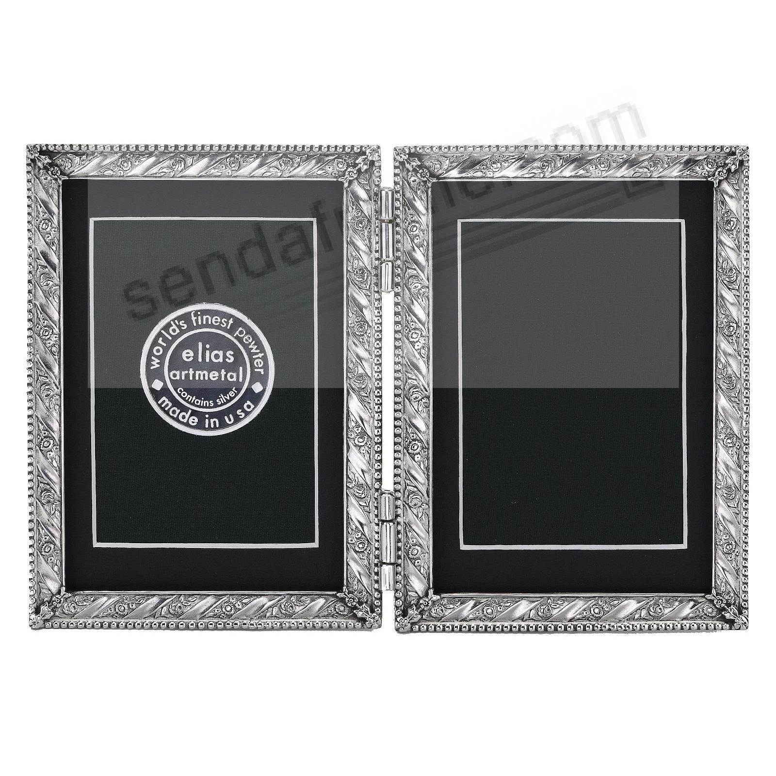 GIFTWRAP luxe silvered fine pewter DOUBLE HINGED 3x4 by Elias Artmetal®