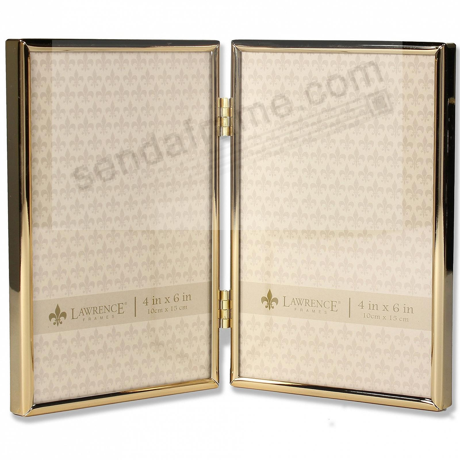 Polished SIMPLY GOLD double hinged 4x6 frame by Lawrence®