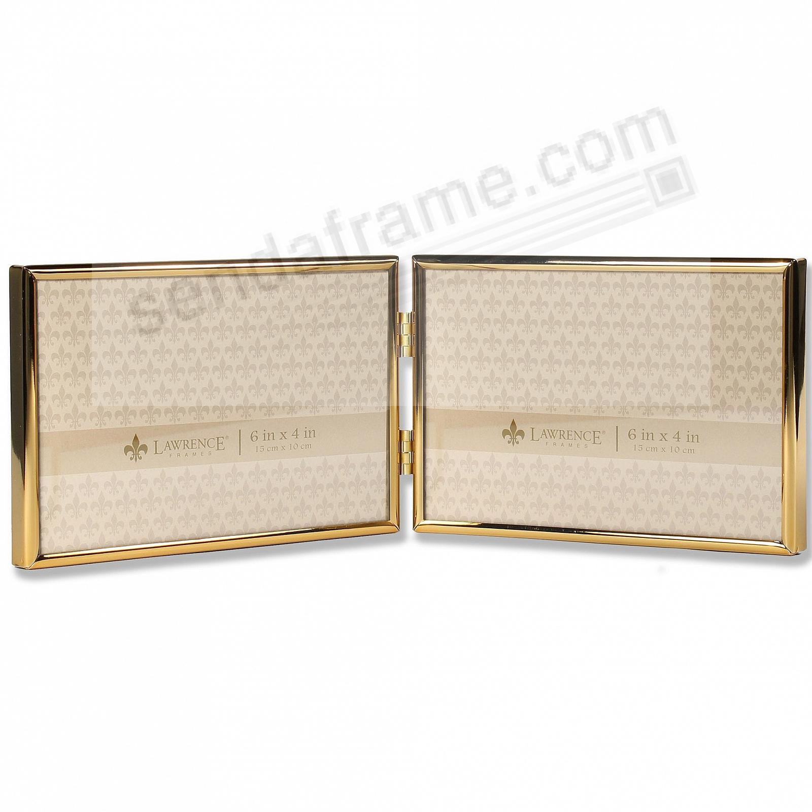 Polished SIMPLY GOLD double hinged 7x5 frame by Lawrence®