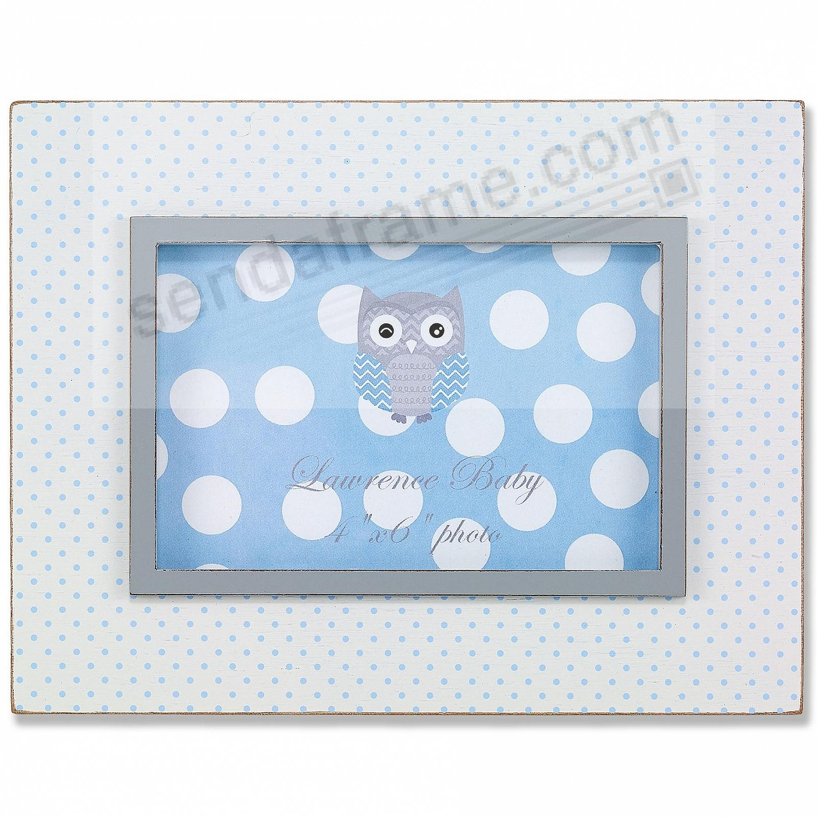 Blue Polka Dot Distressed white frame by Lawrence®
