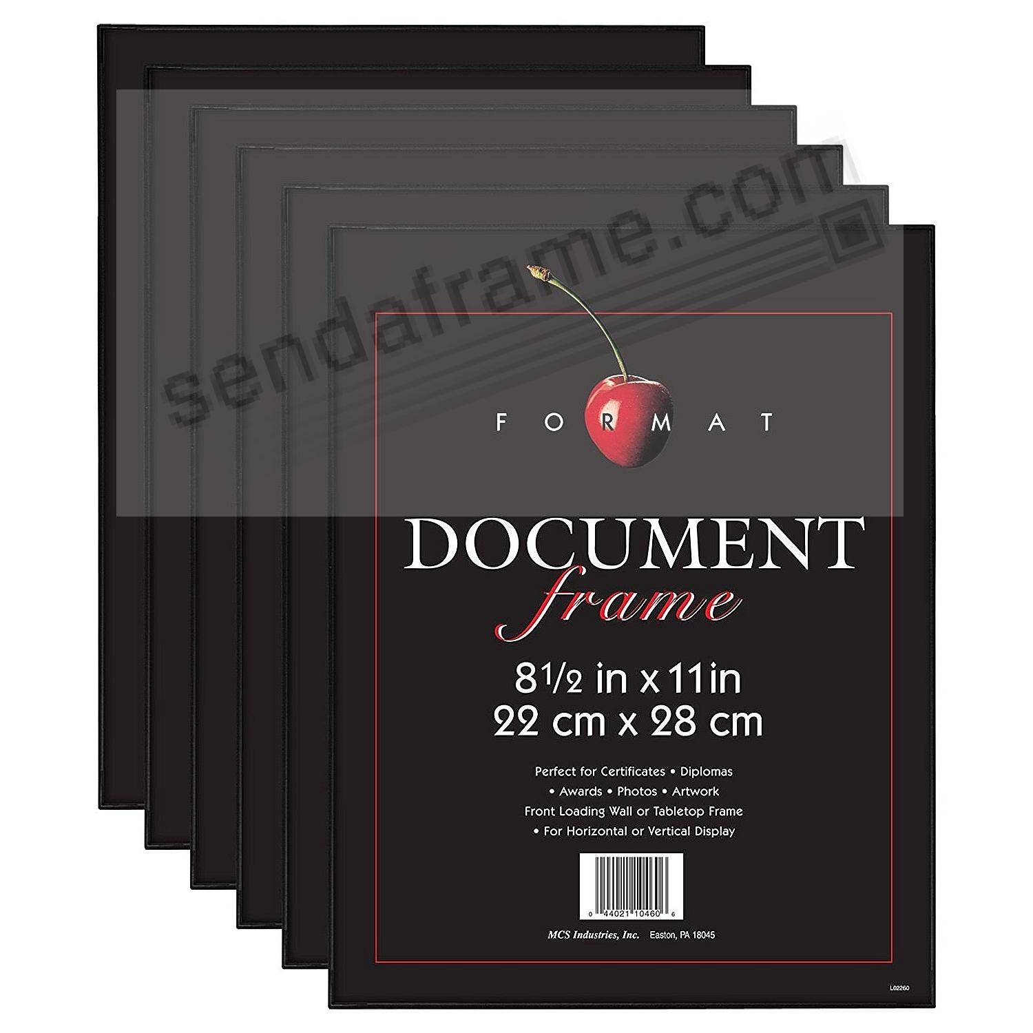 (6-Pack) The ORIGINAL FORMAT FRONT-LOAD Black 8½x11 Frame