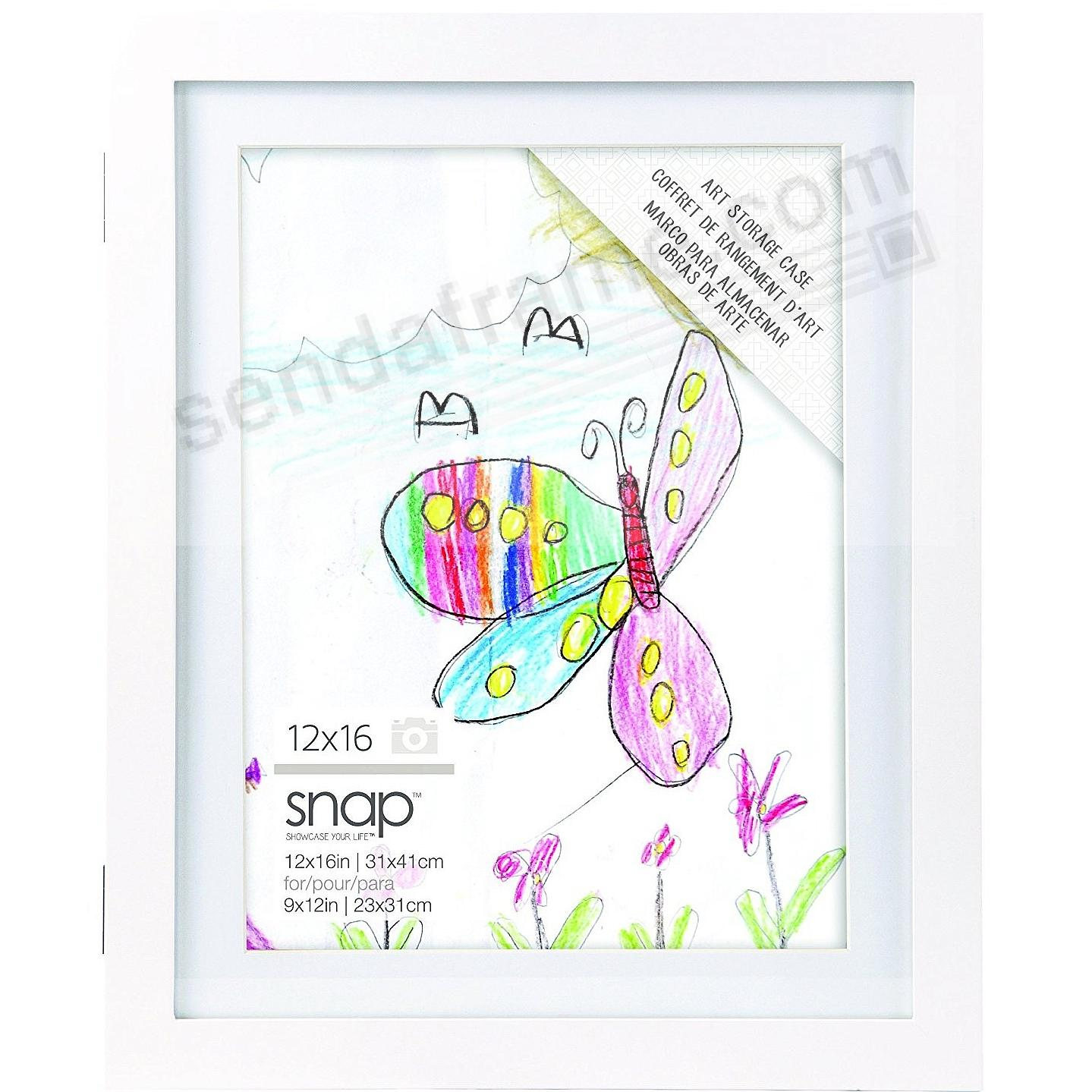 Art Display Case 13x16/11x14 White Wood frame by SNAP®