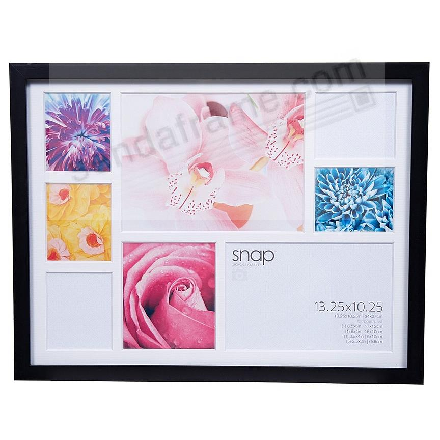 BLACK Frame w/8-Print White Collage Mat by SNAP™