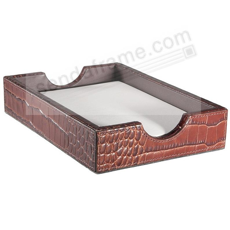 Memo Tray Brown Crocodile Embossed Leather by Graphic Image™