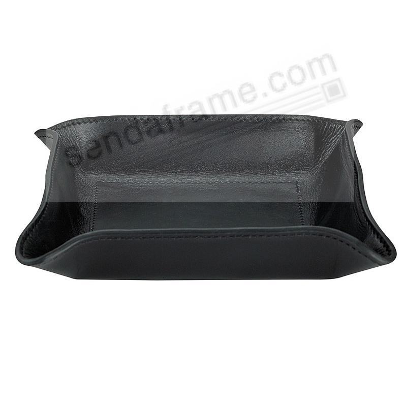 Valet Tray Catchall (Medium) Black Vachetta Leather by Graphic Image™