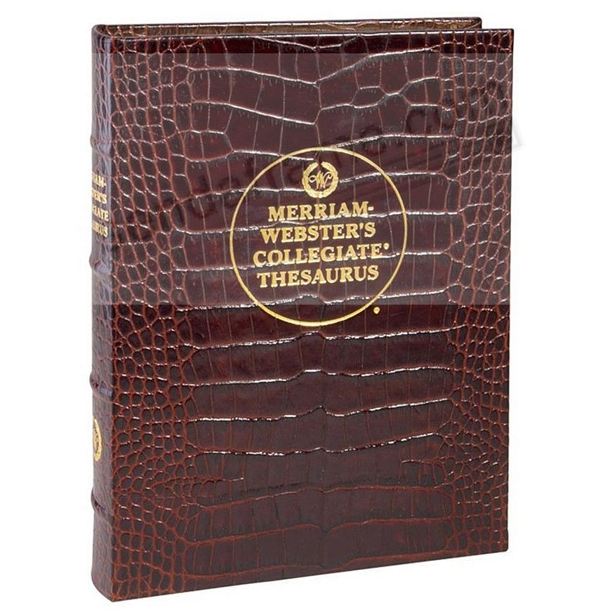 Merriam-Webster Collegiate THESAURUS BROWN CROCO LEATHER by Graphic Image®