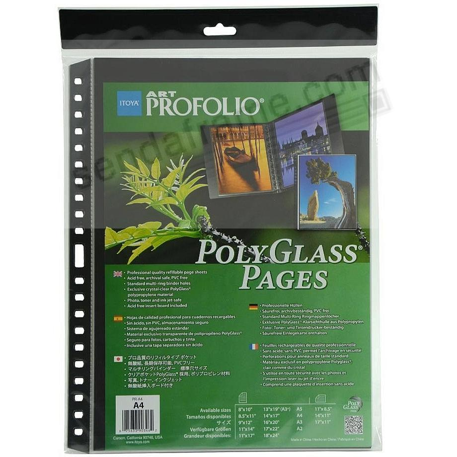 Genuine Itoya® PolyGlass® Refills for A4 (8¼x11¾) Size multi-ring albums