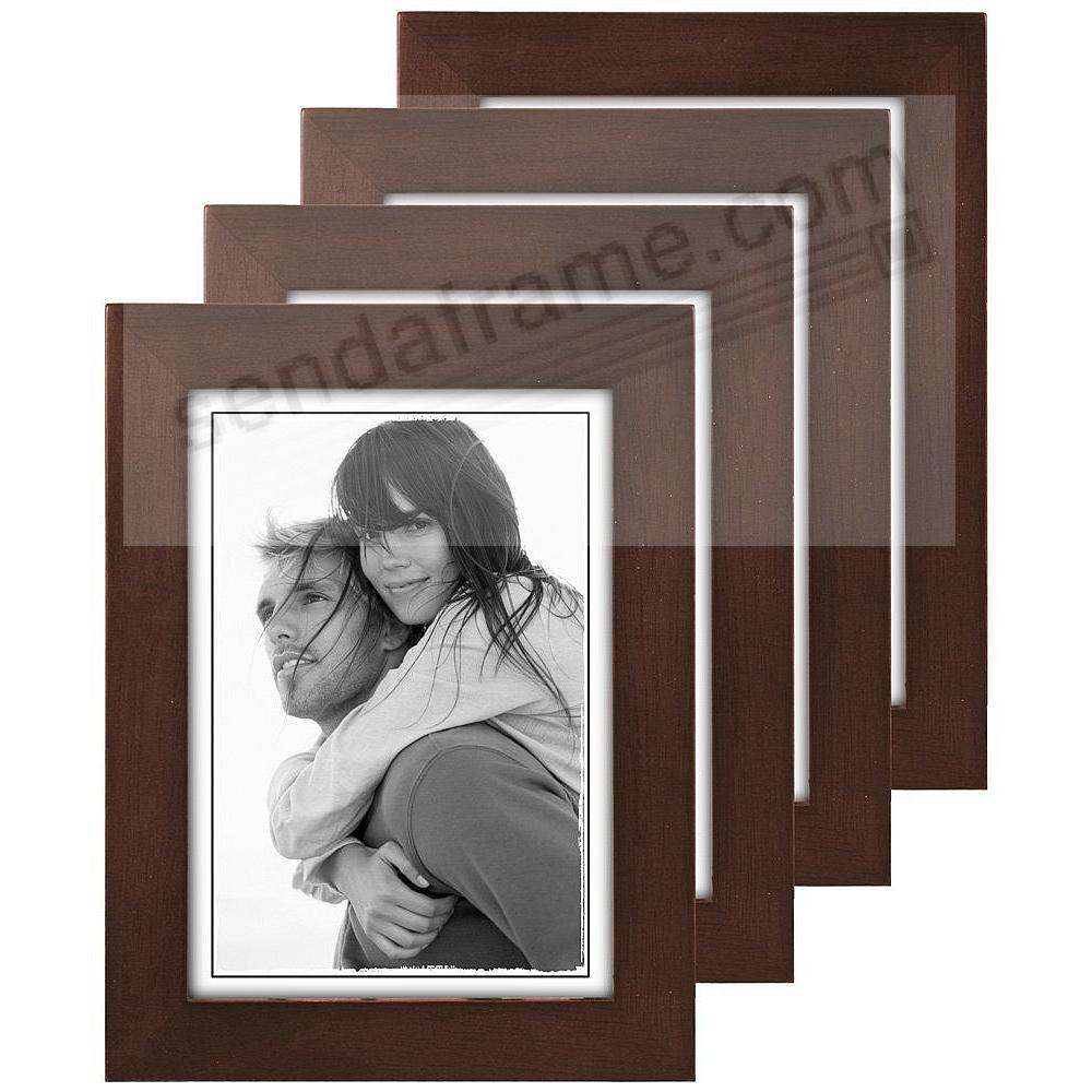 (4-Pack) Dark-Walnut LINEAR classic 5x7 frame by Malden®