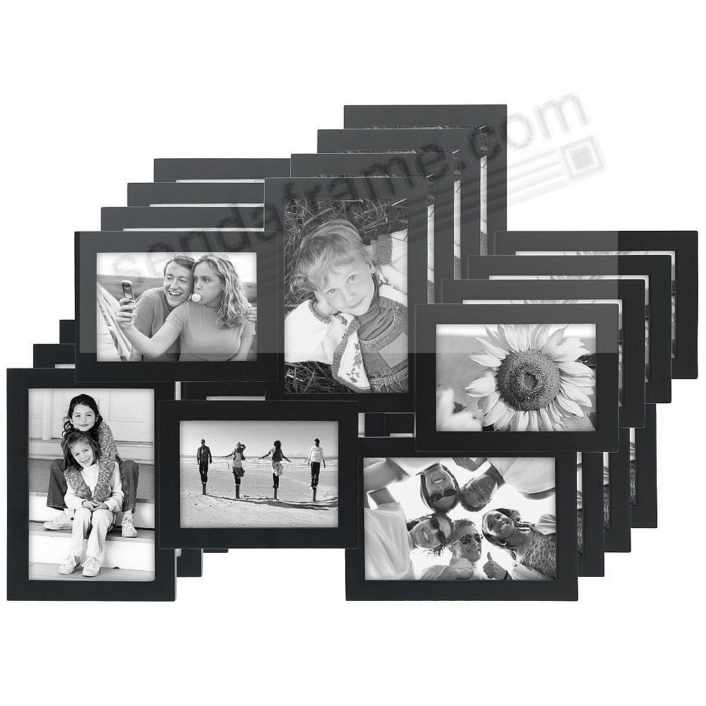 (4-Pack) CROSSROADS Black 6 multi-opening wood collage frame for 3½x5 + 4x6 prints by Malden®