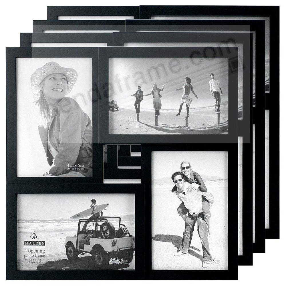 (4 Pack) Black 4-opening PUZZLE collage frame for 4x6 prints by Malden®