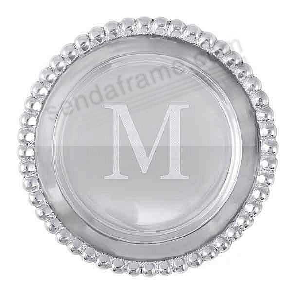 The original BEADED WINE PLATE Engraved -M- by Mariposa®