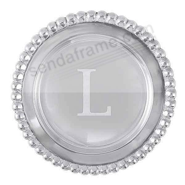 The original BEADED WINE PLATE Engraved -L- by Mariposa®