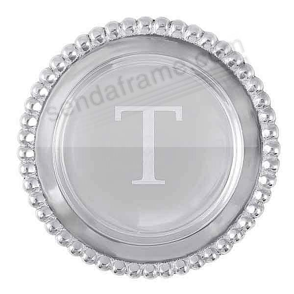 The original BEADED WINE PLATE Engraved -T- by Mariposa®
