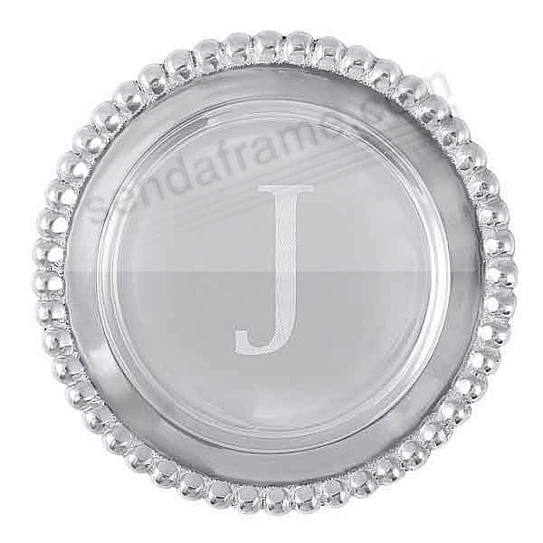 The original BEADED WINE PLATE Engraved -J- by Mariposa®