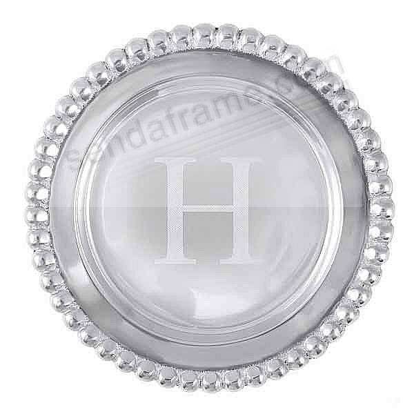 The original BEADED WINE PLATE Engraved -H- by Mariposa®