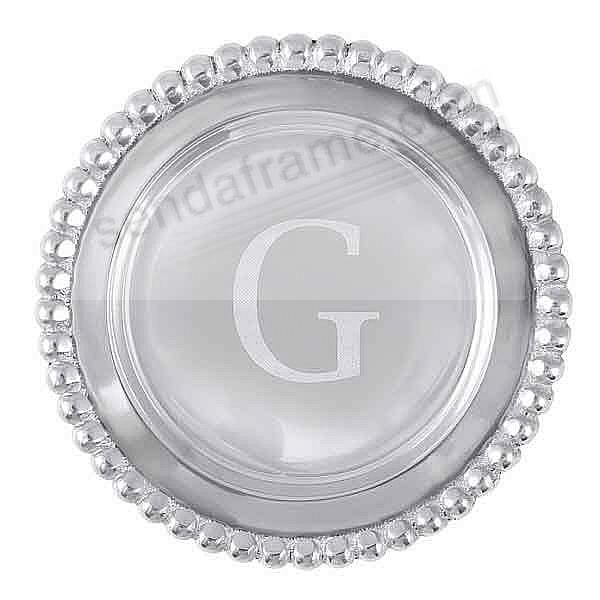 The original BEADED WINE PLATE Engraved -G- by Mariposa®