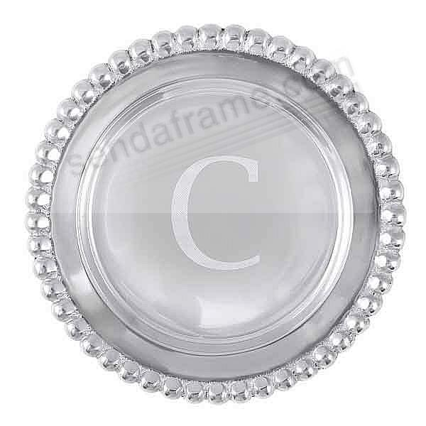 The original BEADED WINE PLATE Engraved -C- by Mariposa®