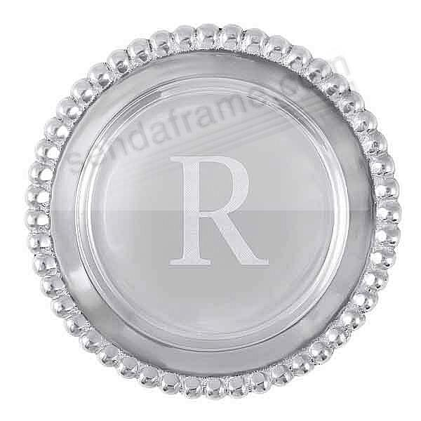 The original BEADED WINE PLATE Engraved -R- by Mariposa®
