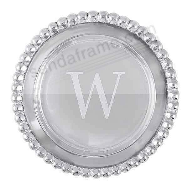 The original BEADED WINE PLATE Engraved -W- by Mariposa®