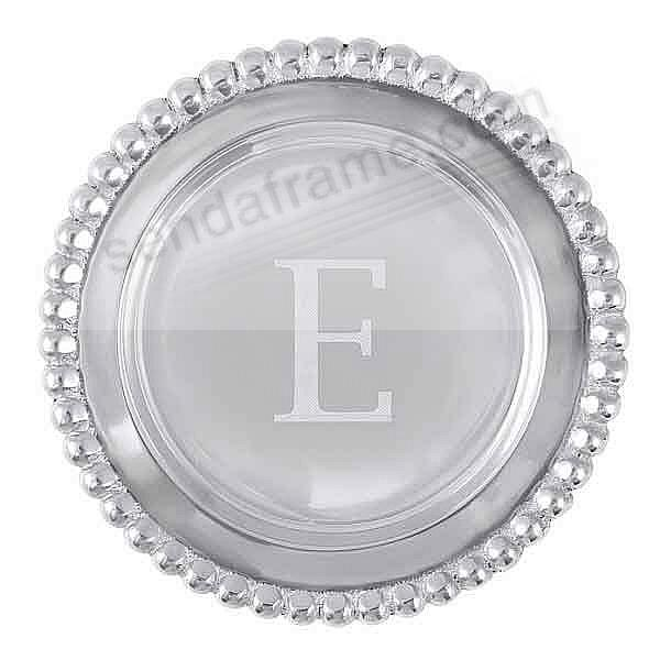 The original BEADED WINE PLATE Engraved -E- by Mariposa®