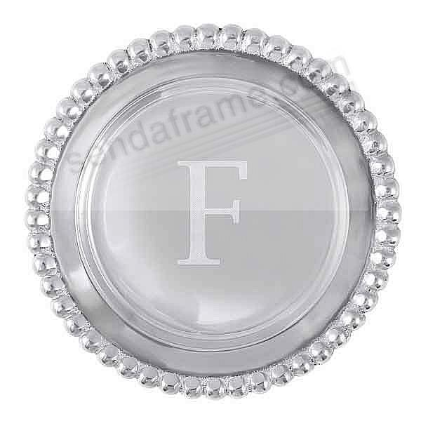 The original BEADED WINE PLATE Engraved -F- by Mariposa®