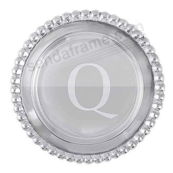 The original BEADED WINE PLATE Engraved -Q- by Mariposa®