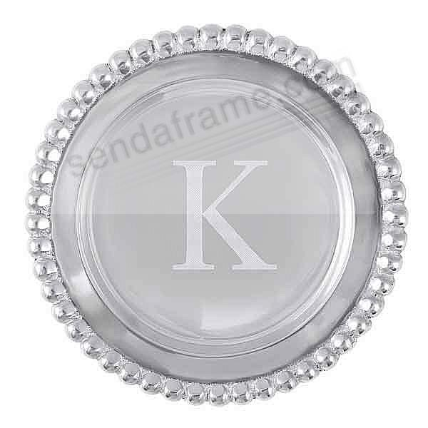 The original BEADED WINE PLATE Engraved -K- by Mariposa®