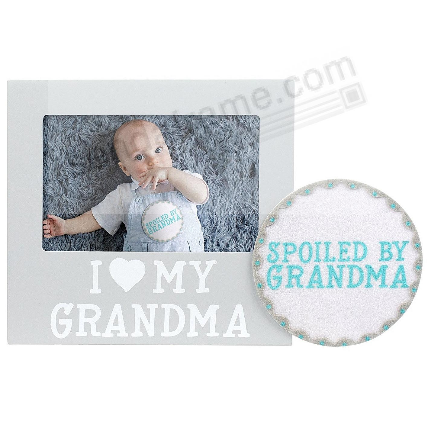 I {HEART} MY GRANDMA Gray keepsake frame w/Belly Sticker by Pearhead®