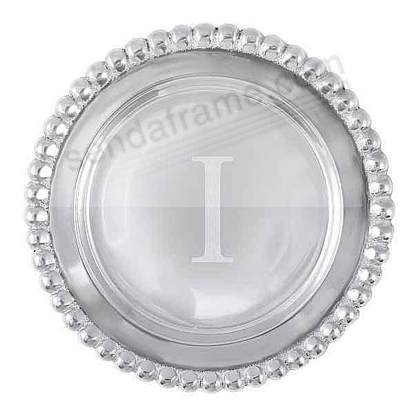 The original BEADED WINE PLATE Engraved -I- by Mariposa®