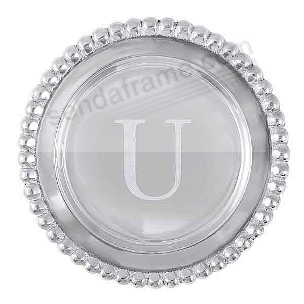 The original BEADED WINE PLATE Engraved -U- by Mariposa®
