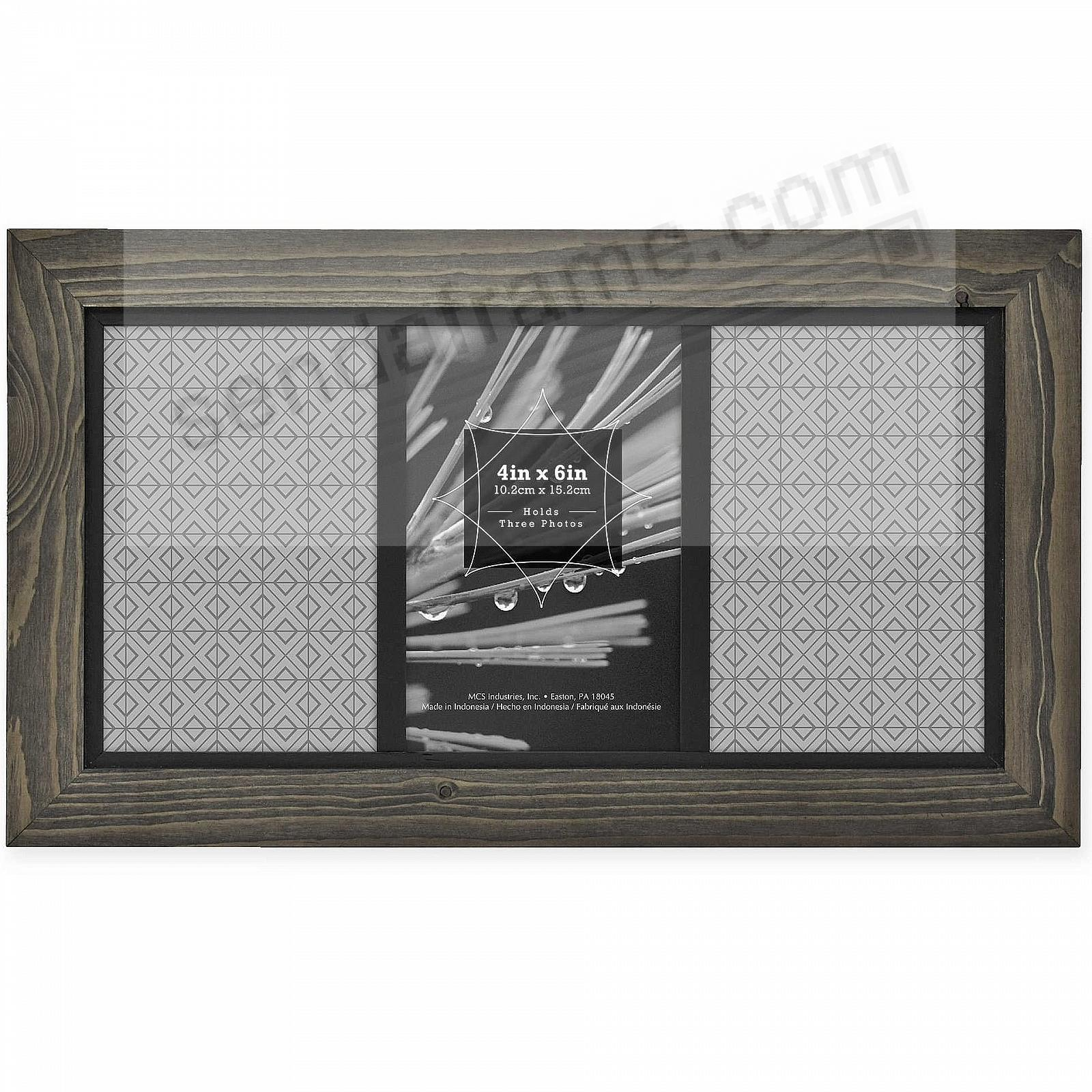 TIMBER Distressed Gray/Black Wood 3-4x6/6x12 Frame by MCS®