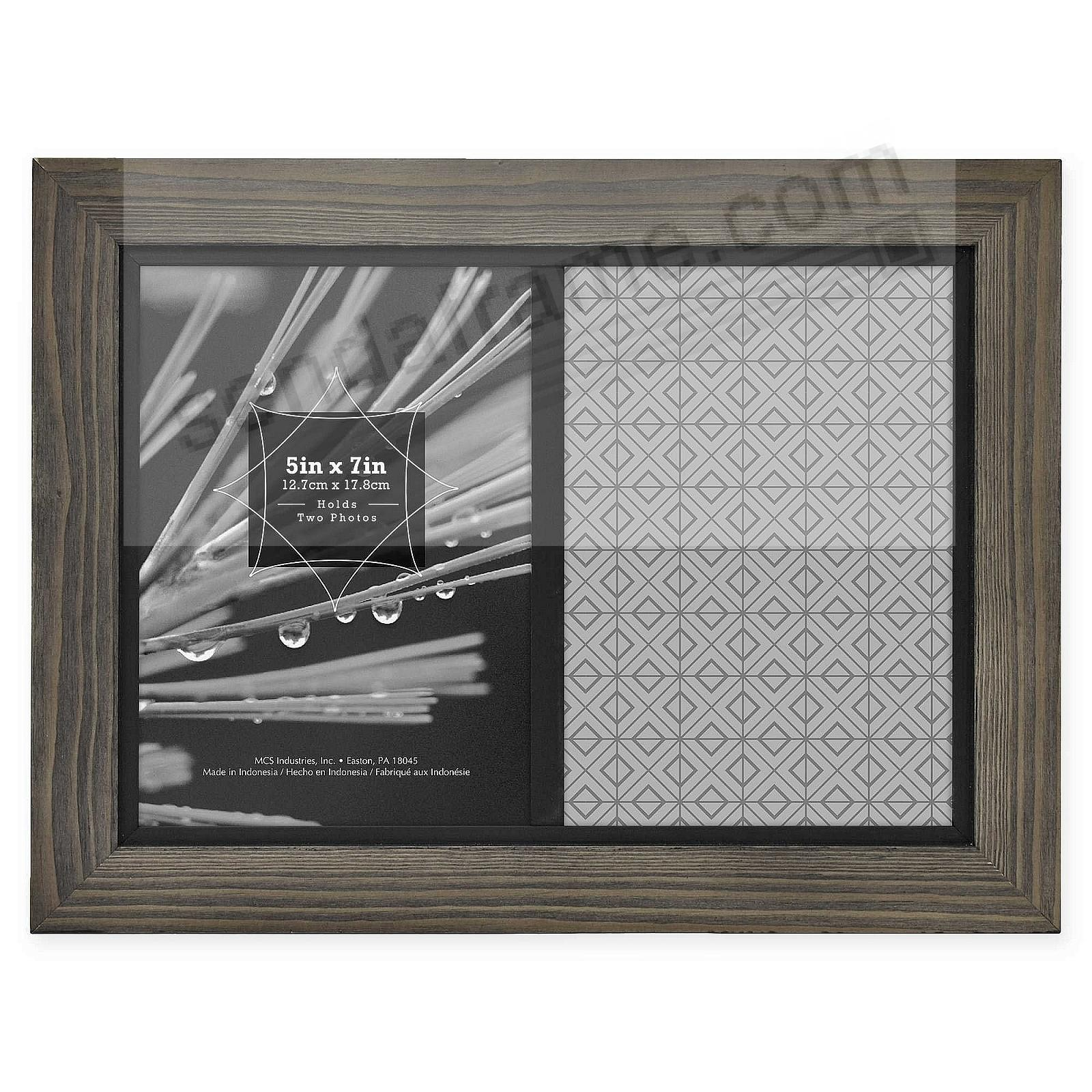 TIMBER Distressed Gray/Black Wood for 2-5x7/7x10 Matted Frame by MCS®